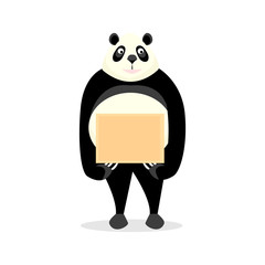 Funny panda holding a sign isolated on a white folne
