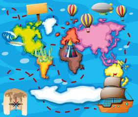 World map with different transportations