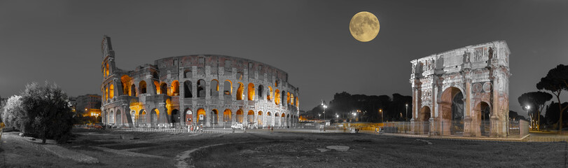 Wall Mural - Rom Colosseum und  Konstantinsbogen sw col Panorama