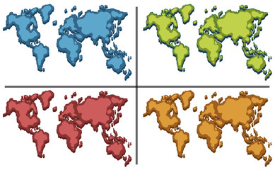 World atlas in four colors