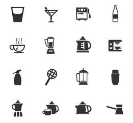 utensils for bavarages icon set