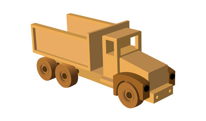 Toy car. Wooden toy truck. Vector illustration eps 10 isolated on white background cartoon style.