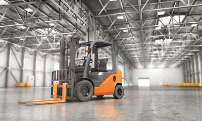 Concept of warehouse. The forklift in the empty big warehouse on