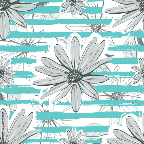"""Flower pattern seamless Turquoise striped background"