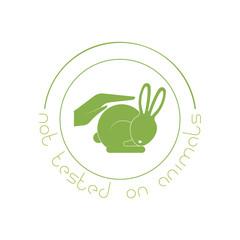 Animal cruelty free logo. Not tested on animals symbol.