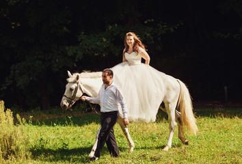 Romantic riding a horse