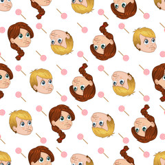 Vector seamless pattern of cute little boy and girl begging for sweets