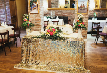 Wedding decorations in a restaurant