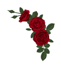 beautiful bouquet with red roses and leaves. Floral arrangement.