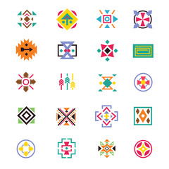 Wall Mural - Aztec ethnicity style signs. American indian navajo art vector patterns