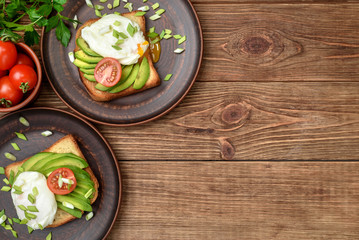 Sandwich with avocado and poached egg.