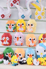 small beautiful colored paper owls