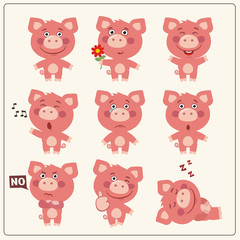 Funny little piggy pig set in different poses. Collection isolated pig in cartoon style.