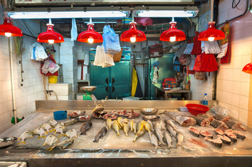 Fresh seafood on sale at a Hong Kong indoor food market
