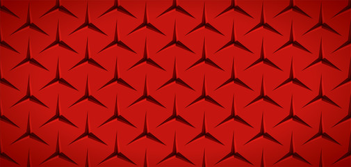 Realistic texture, red surface with slots in the form of stars, vector design background