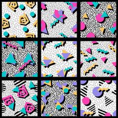 Set of vibrant geometric patterns