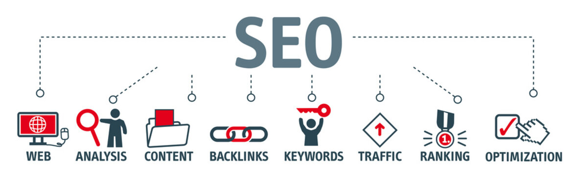 Banner SEO search engine optimization. Vektor Grafik mit Piktogrammen
