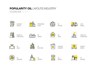 Oil popularity modern layouts global industry in new flat line style. Gas station, technology and petroleum systems development. infographics strategy program. Pictogram for design.