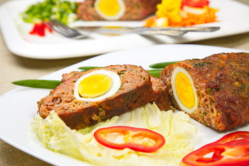 Meatloaf with egg.