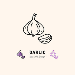Garlic icon Vegetables logo. Garlic clove, Spice. Thin line art design, Vector outline illustration