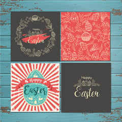 Set of greeting Easter cards on wooden background. Vector hand-drawn easter symbols