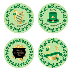 Happy Saint Patricks Day labels