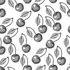 Seamless pattern. Cherry sketch. Fruits vector illustration. hand drawn.