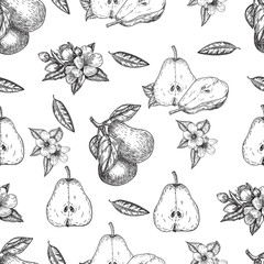 Seamles pattern vector hand made sketch illustration of engraving pear