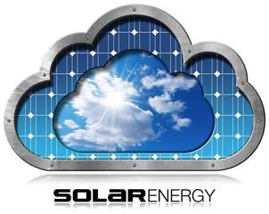 Solar Energy - Metal Cloud with Solar Panel