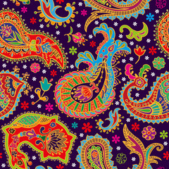 Paisley seamless pattern. Abstract ethnic background