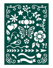 Laser cut template for planner notebook or journal dairy stencil. Arrows, dividing lines, flowers, openwork corners, butterfly, heart, branch, leaf, bud, symbols for fields notes. Vector illustration.