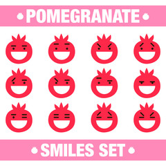 vector illustration with funny pomegranate flat character smile set on white background.Cute flat pomegranate smile character set