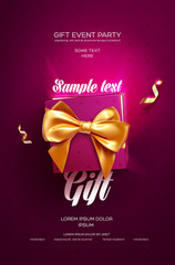 Pink Festive flyer or poster. Top view on gift box and bow with beautiful backdrop