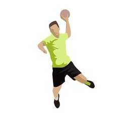 Shooting handball player, abstract flat design vector illustrati