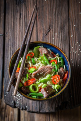 Enjoy your asian noodle with beef chilli peppers