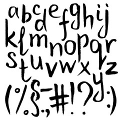 Hand-drawn black lowercase letter Alphabet and signs