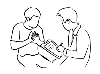 The doctor Recording symptom of a man Patient about heart pain and heart attack on a clipboard.
