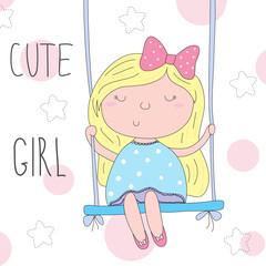 cute little girl sitting on a swing vector illustration