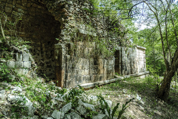 sight of a building in ruins in the Mayan archaeological enclosure of Sayil, Yucatan, Mexico