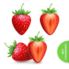Realistic strawberry icons set, template for advertising vector illustration