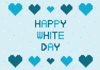 ホワイトデー ハート ブロック イラスト ロゴ