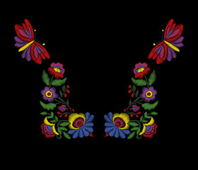 Vector embroidery floral ethnic neck line design, flowers and butterflies. Fashion wearing.