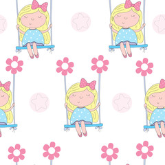 seamless pattern with cute little girl sitting on a swing