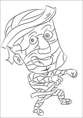 happy smiling cartoon mummy coloring page