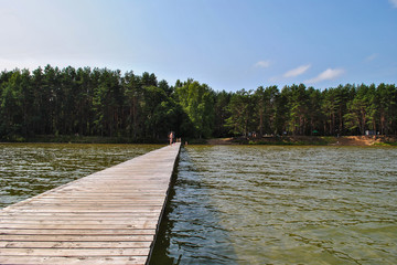boardwalk bridge on the lake or the sea