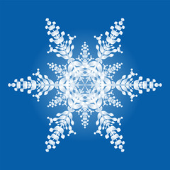 One snowflake - geometric hexagonal pattern on blue background.