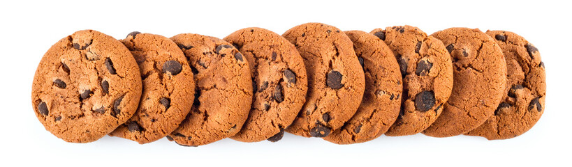 Fotobehang Koekjes stack of сhocolate chip cookies isolated on white background