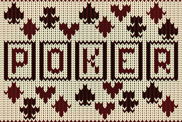 Knitted poker casino banner, vector illustration