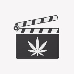 Isolated clapper board with a marijuana leaf