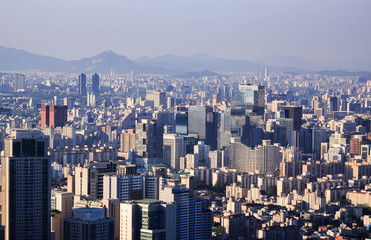 Seoul city and Downtown skyline, South Kore.